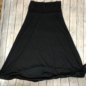 LuLaRoe Solid Black Maxi Skirt XL